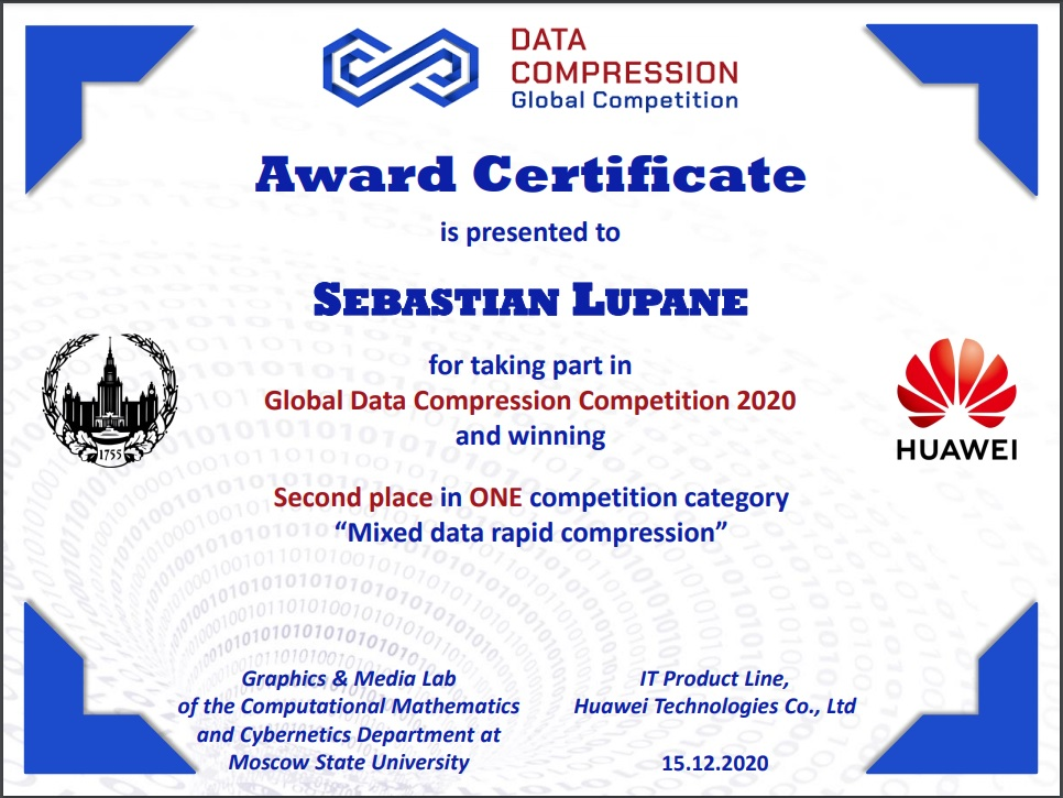 2nd Place at HUAWEI Sponsored Content for Global Data Compression 2020